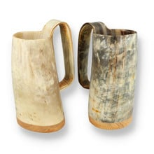 Abbeyhorn Handcrafted Ox Horn Soldiers Mead Cup Tankard With Wood Base