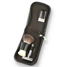 Pure Badger Hair Shaving Travel Set With Leather Case