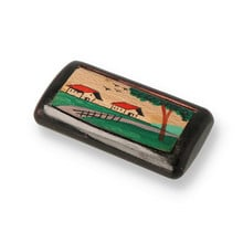 Hand Painted Wooden Snuff Box House and Birds Scene SNU-145