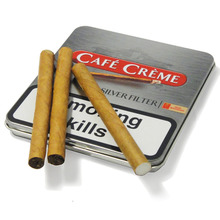 **DISCONTINUED** Cafe Creme Silver Filter Miniature Cigars (Tin of 10 Cigars)