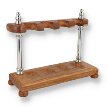 **DISCONTINUED** 4 Pipe Solid Wood Chrome Pillars Pipe Rack (RA7004)
