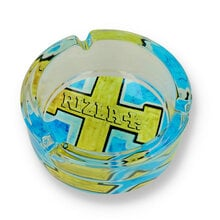 Rizla Glass Ashtray Blue and Gold Cross