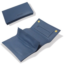 **DISCONTINUED** Artamis PO25B Blue stained Leather Roll Up Hand Rolling Tobacco Pouch