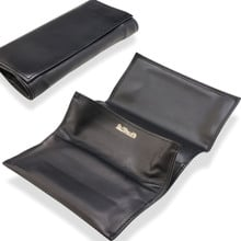 Dr Plumbs Smooth Large Black Leather Roll Up Pipe Tobacco Pouch P2803
