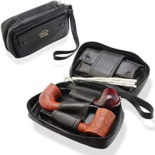 Comoys Black Leather Pipes Smokers Compendium (Tobacco Pouch) P25400