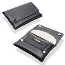 Dr Plumbs Press Stud Wallet Black Leather Rolling Tobacco Pouch P35532