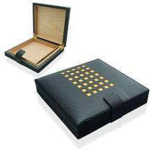 Sikarlan Handmade Faux Leather Yellow Check Humidor (HUA125)