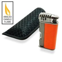 ***DISCONTINUED*** Lotus Vertigo Puffer Angled Flame Pipe Lighter (Gunmetal & Orange)