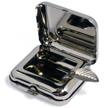 **DISCONTINUED** Chrome Pocket Folding Ashtray with Cigarette Rest