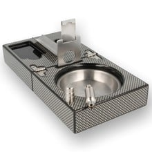 Folding Carbon Fibre Cigar Ashtray, Cutter and Punch Set 524303
