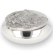 Solid Pewter Snuff Box Country Scene 3652