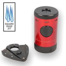 Xikar Volta Quad Flame Table Lighter and Cigar Cutter Gift Set