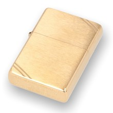 240 Vintage Brushed Brass Fin Zippo Lighter
