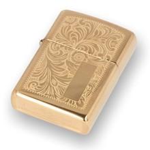 352B Brass Venetian Zippo Lighter with Engraving Plaque