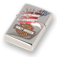 ***DISCONTINUED***28082 Harley Davidson Eagle Wings Polished Chrome Zippo Lighter