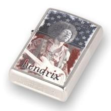 **DISCONTINUED** 29175 Jimi Hendrix Stars and Stripes Street Chrome Zippo Lighter