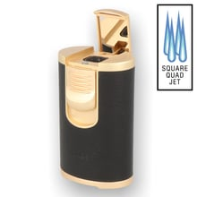 **DISCONTINUED** Honest Leather Bound Quad Flame Table Lighter BCZ267-1-03 Black & Brass
