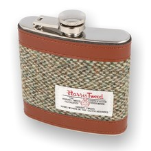 ***DISCONTINUED*** Glen Appin Harris Tweed Hip Flask Brown Twill COL3