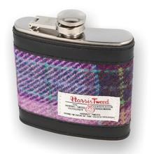 Glen Appin Harris Tweed Hip Flask Purple Tartan COL34