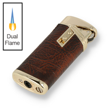 ***DISCONTINUED*** Honest Saxby Windproof Dual Flame Cigarette Lighter BCZ4504-1-01 Brown