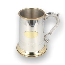 English Pewter Company Polished Brass Lip Tankard with Engraving Plate EP046